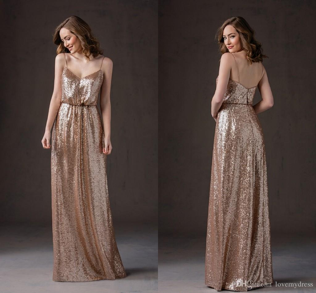Sexy Unique Design Sequines Bridesmaid Spagehttis Simple