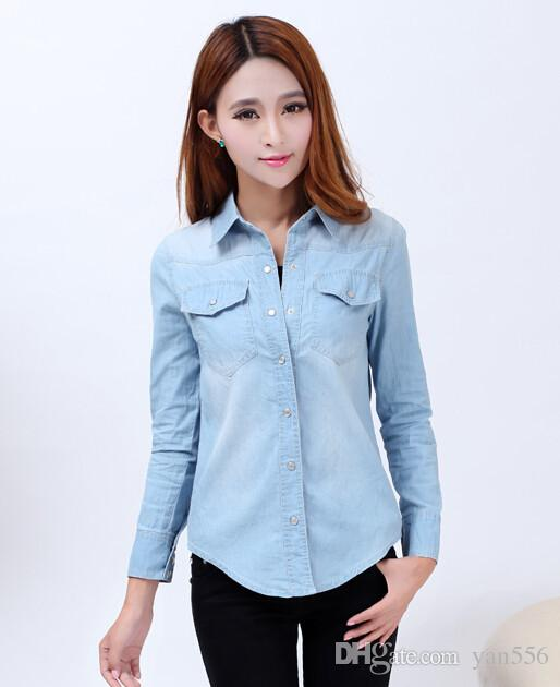 4b7f674fe9cb3 Nuevo 2017 primavera mujer camisa de mezclilla estilo de moda de manga  larga camisas casuales mujeres 2 colores Blusas tallas grandes Blusa Jeans  Feminina