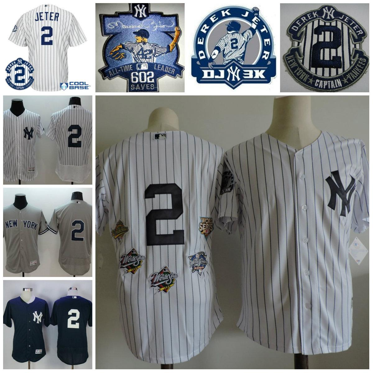 ... czech 2017 new york yankees 2 derek jeter jersey retirement captain  patch white 5x baseball world 5b2608afb