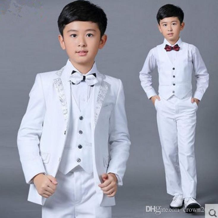 be392ef09e90 Boys Wedding Suits New Size 2 14 White Boy Suit Formal Party Five ...