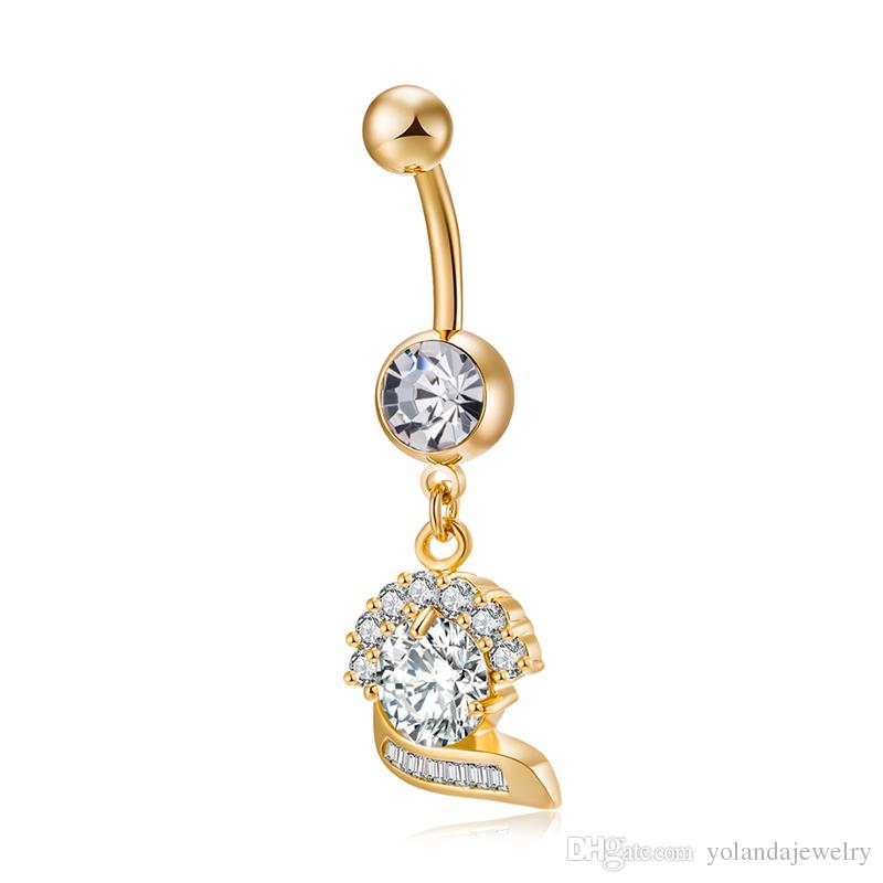 18k real amarela banhado a ouro Top Quality Limpar Cubic Belly Zircon Flower Body Piercing Anel for Girls Mulheres