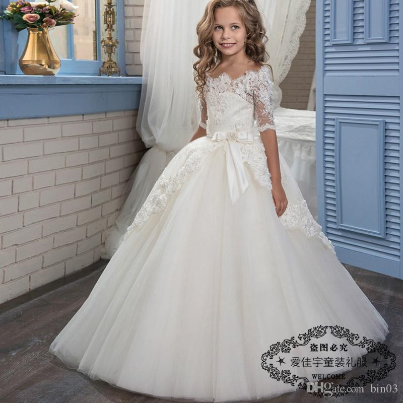 princess first holy communion dress half sleeves puffy