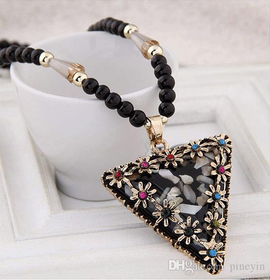 Women Triangle Shell black Beads Pendant Necklaces Boho Cat Waterdrop Long Sweater Chain Necklace NE222