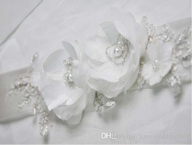 Handmade Flower White Wedding Sashes 2017 ,Cheap Bridal Gowns ,Organza Women Elegant Sashes For Prom Party Evening .Waist accessories