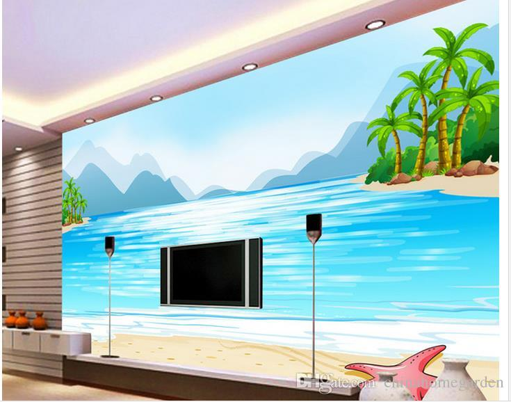 Ocean Wall Mural custom any size ocean view cartoon tv wall mural 3d wallpaper 3d