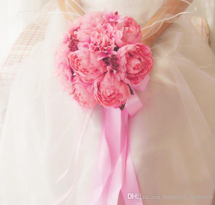 Pembe gelin holding buket yapay basamaklı zarif zarif ipek düğün kaliteli çiçekler 23 cm çapında yeni
