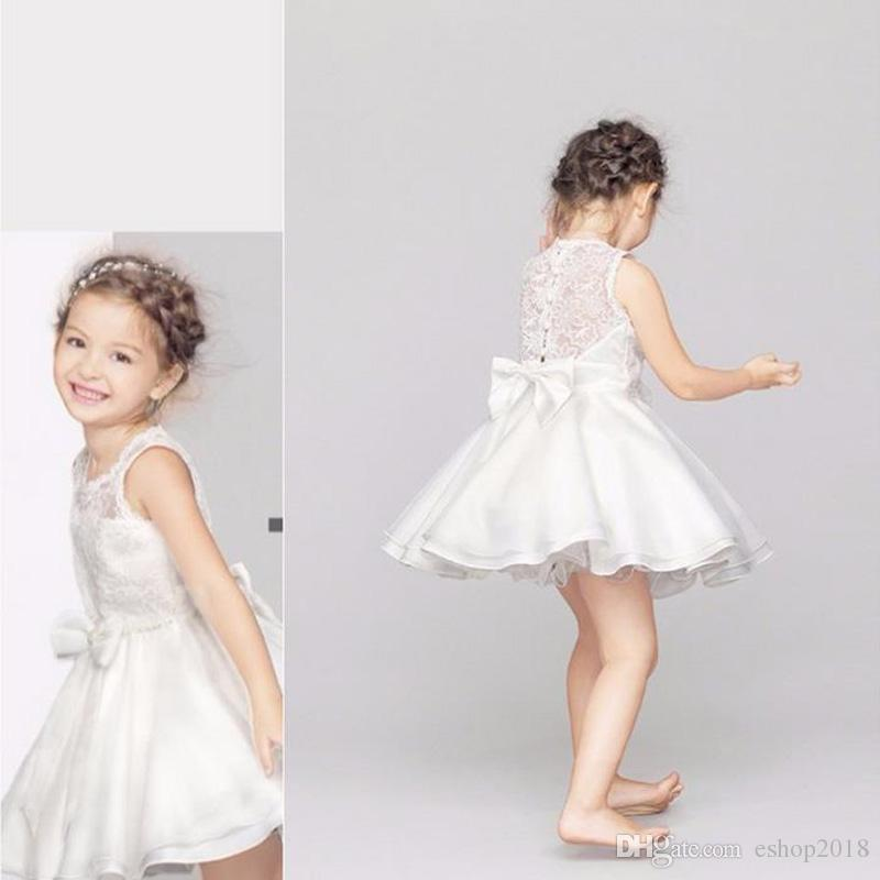 6455fe5324 2019 High Quality Sleeveless Girl Net Yarn Baby Lace Vest Dresses Floral  Printed Hollow Out White Wedding Dress Party Prom Dress Children Clothes  From ...