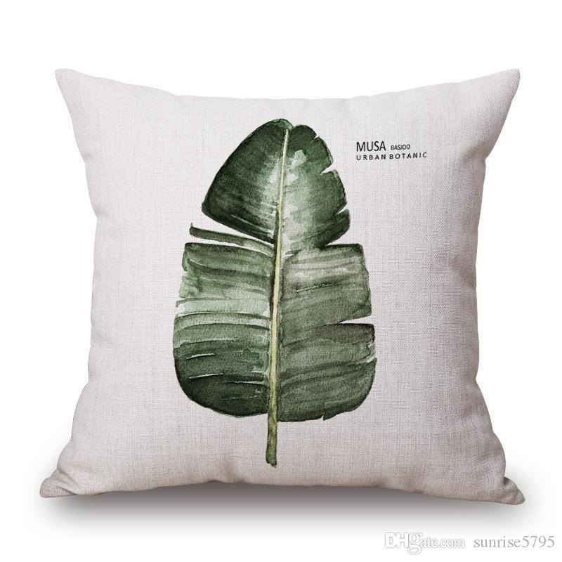 green leaf cushion cover rural nature plant almofada indoor outdoor leaves home decor modern throw pillow case cojines