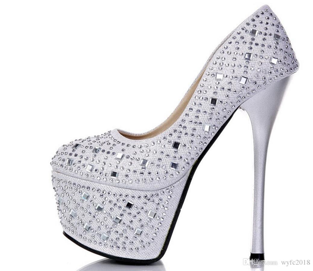 16 cm high heels and sexy club women's diamond thin round head shoes wedding shoe with waterproof