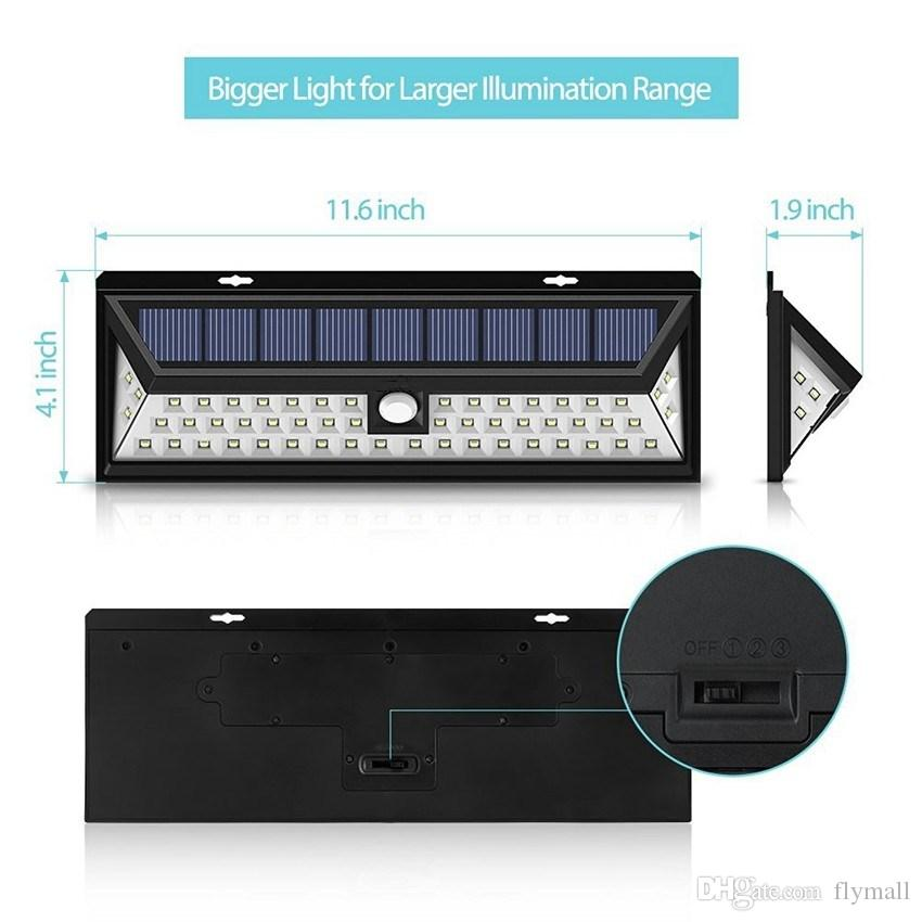 54 LED Solar Motion Sensor Light Outdoor Wall Lamp Waterproof Solar Powered Light with 3 Intelligent Modes 3 LEDs Both Side for Gadern Patio