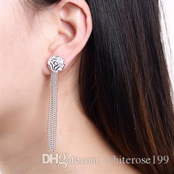 도매 - 최저 가격 크리스마스 선물 925 스털링 실버 패션 귀걸이 E048