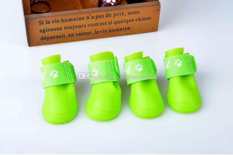 Rubber Water Protective Pet Shoes Booties Cute Non-slip Colorful Dog Pet Boots Waterproof Rain shoes for plus Pet cat dog XL XXLPD014B