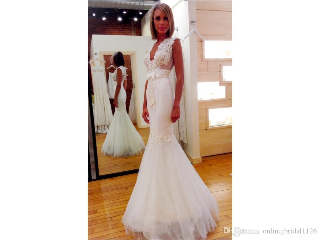 Custom-made Mermaid Plunging V-Neck Sleeveless Sheer Back Tulle Lace Appliques Pearls Beading COR-540 Wedding Dresses Robe De Marriage