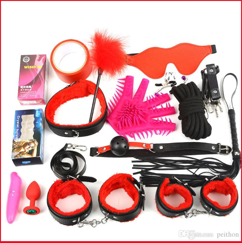 New Sexy Kit Fetish Sex Bondage Sex Toys for Couples, Nipple Clamps Foot Handcuff Ball Gag Whip Collar Eye mask