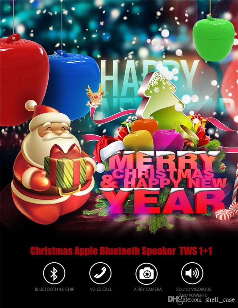 2017 Xmas Apple Bluetooth Speakers TWS 1+1 Mini Wireless Apple Shape Subwoofers Camera Key Christmas Tree Hanging Decorations Gifts