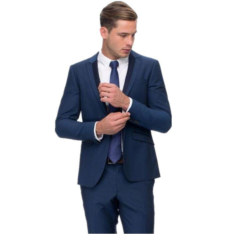 Acquista Abiti Eleganti Uomo Blu Royal Abiti Da Sposa Sposo Smoking Di Alta  Qualità Slim Fit Occasioni Di Occasioni Formali Giacca + Pantaloni A  106.6  Dal ... 51ac1dfbe72