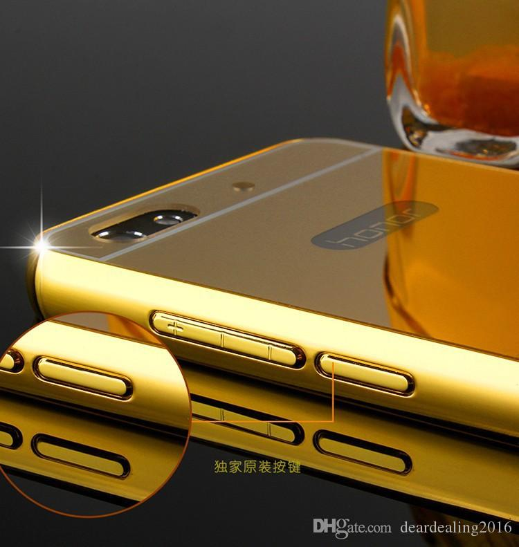 For Huawei Honor 4C Case Luxury Gold Plating Aluminum Alloy Frame + Mirror Acrylic Back Cover Phone Cases For Huawei 4C C8818D