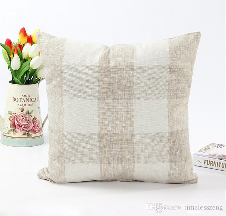 Federa classica a traliccio grande Federa decorativa in lino naturale Federa letto da ufficio 45 * 45cm