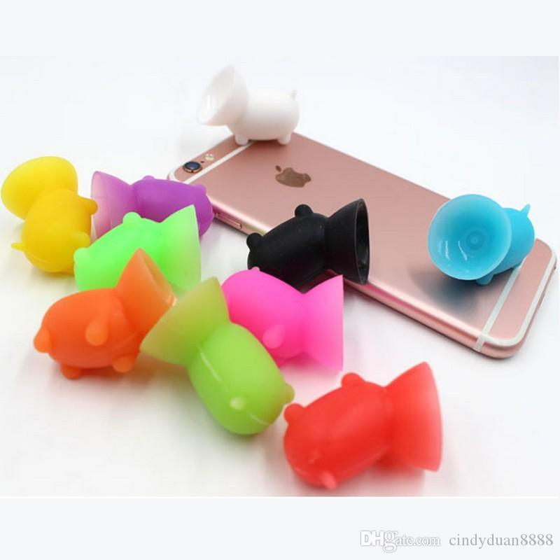 Cute Pig Cell phone holder Silicone Suction Cup Holder Sucker Stand For Iphone X 8 Plus Sumsung Mobile Phone Holder