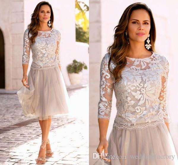 La mère de la mariée formelle robes courtes Illusion ras du cou paillettes embellies haut 3/4 manches pure au genou Robe de mariée invité