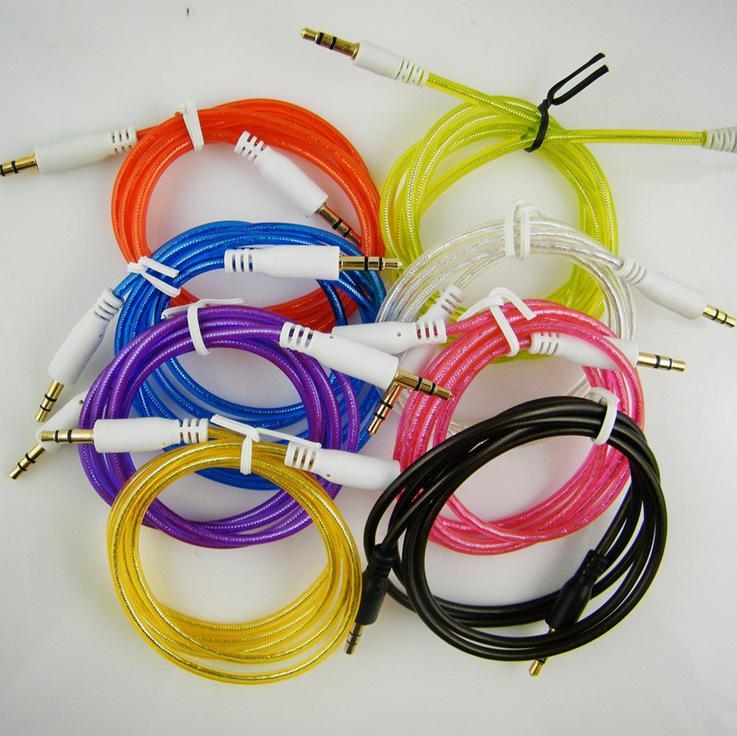 3,5 mm Stereo Audio AUX Kabel Kristall transparent Draht Hilfskabel Jack männlich zu männlich 1 m 3ft für Handy Handy 1500 teile / los