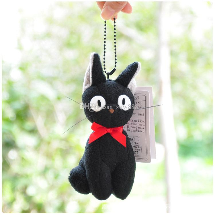 "New arrival 100% Cotton 5pcs/Lot 4"" 10cm Kiki's Delivery Service Black Cat Keychain Pendant Plush Doll Stuffed Animals Toy For Baby Gifts"