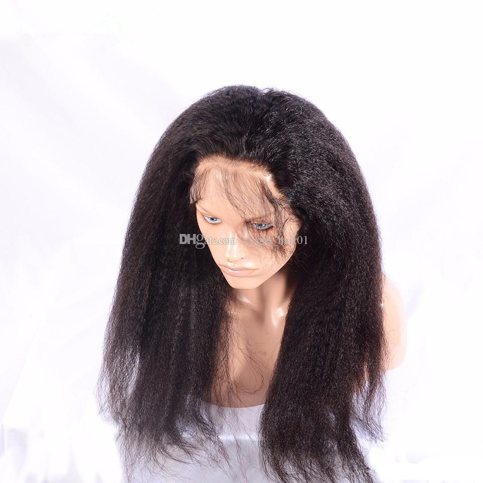 Kinky Em Linha Reta 360 Lace Frontal Com Feixes de Luz Yaki Cabelo Humano Com 360 Fechamento de Banda de Renda Frontal 9a Cabelo Virgem Malaio Com 360