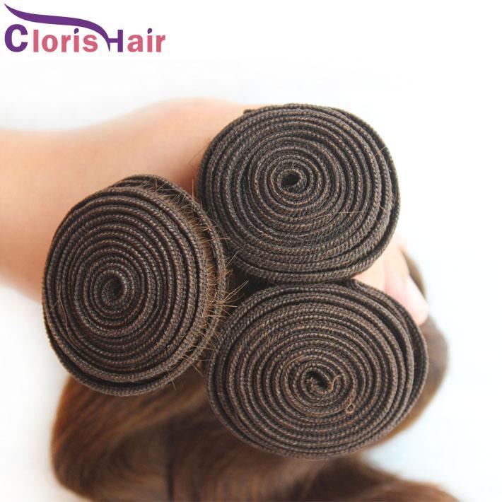 Ausverkauf 3 Stücke Körperwelle Malaysische Menschliche Haarwebart Bundles # 4 Dark Brown Milchstraße Schuss Günstige Bodywave Haarverlängerungen