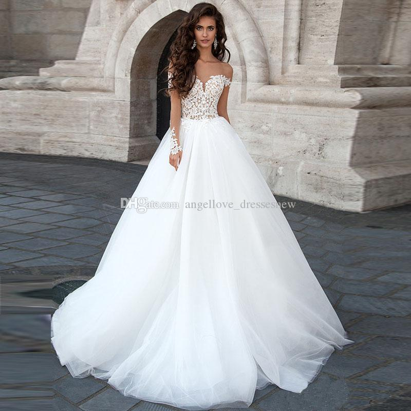 Sexy Backless Ball Gown Wedding Dress Appliques Sheer Long