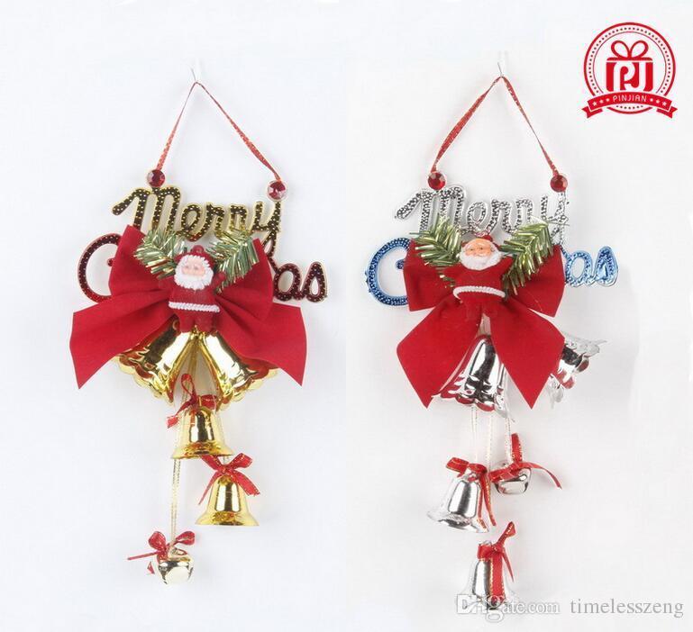 2017 2016 beautiful 14cm christmas bell pendant christmas tree ornaments plastic english bell hanging santa claus lovely pendant christmas decoration sale - Large Plastic Christmas Bell Decorations