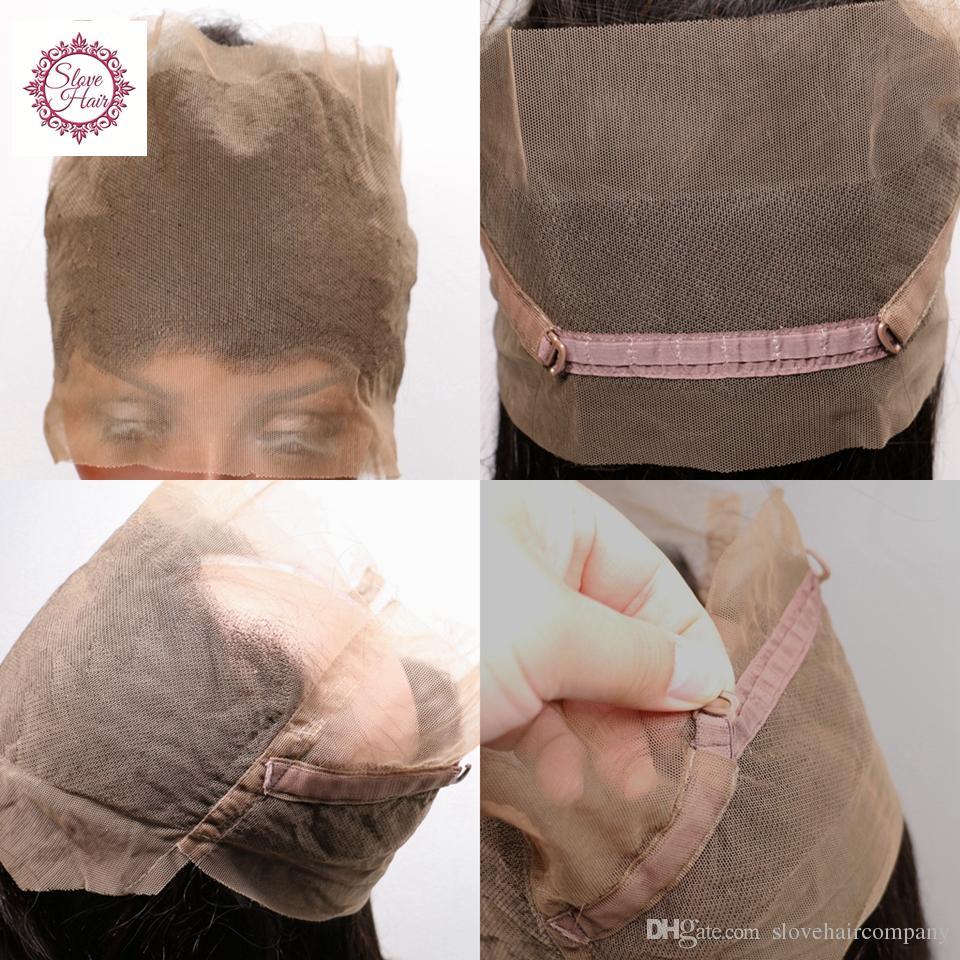 Slove cabelo Pré Arrancadas 360 Lace Frontal Encerramento Onda Profunda Encaracolado Cabelo Virgem Peruano Natural Linha Fina 360 Rendas Frontal Com o Cabelo Do Bebê