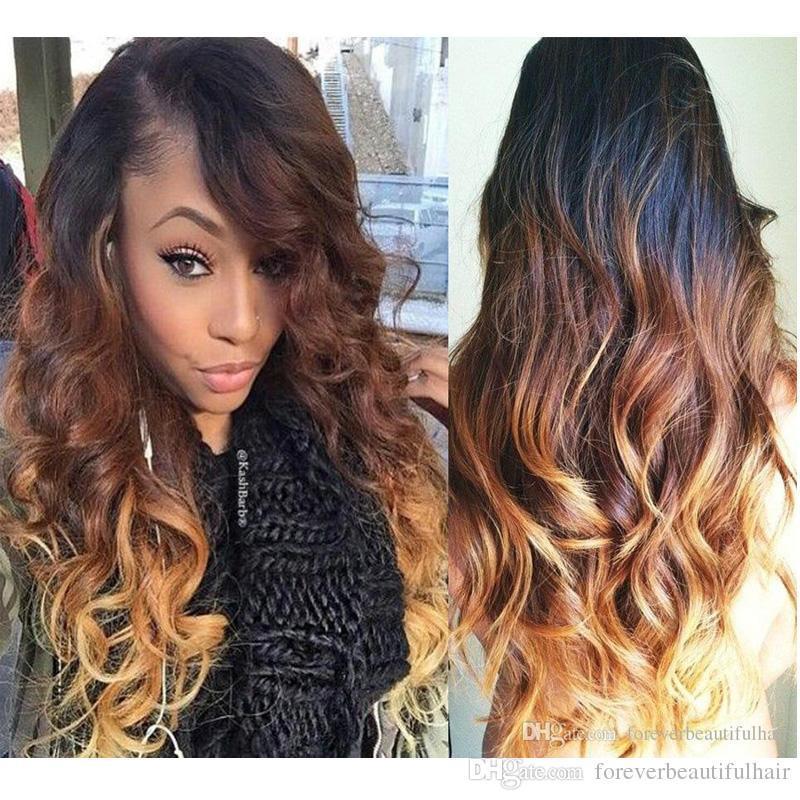 슈퍼 물결 모양의 검은 색 여성 브라질 머리 세 가지 톤 # 투명 전체 레이스 인간의 머리 가발 1B / 27분의 4 선염 컬러 레이스 프런트 가발