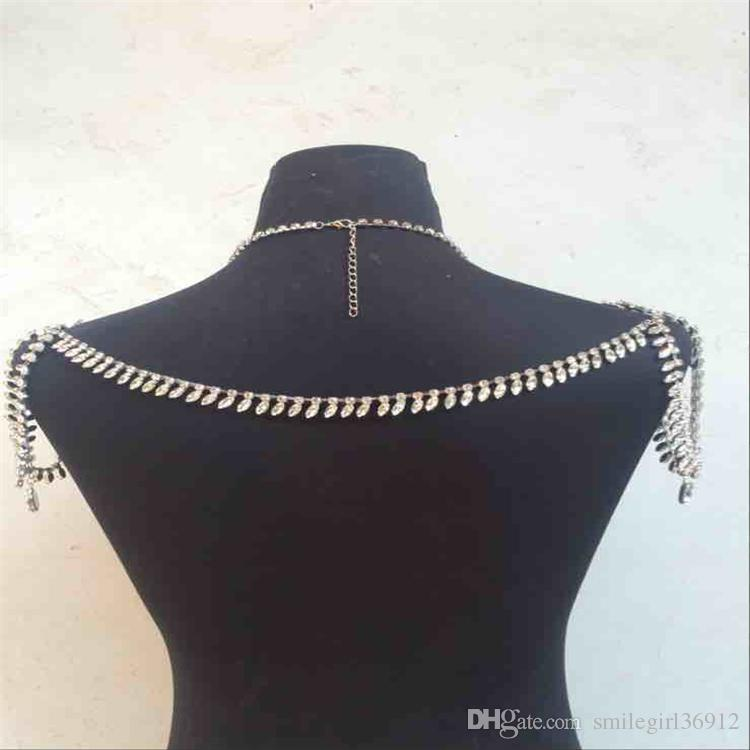 Wholesale Fashionable Wedding Bridal Bridesmaid Prom Silver Crystal Rhinestone Set Shoulder Body Chain Collar Necklace Jewelry Accessories