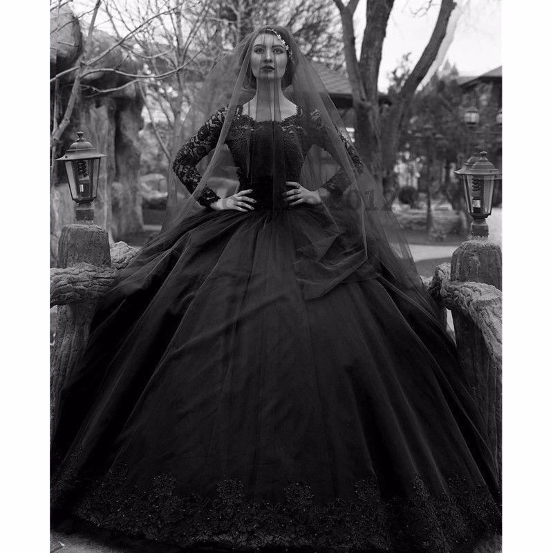 Yeni Gelin Uzun Illusion Kollu Gotik Balo Dantel Gelinlik Siyah Aplikler Bahçe Vestidos Vintage Custom Made Yüksek Kalite