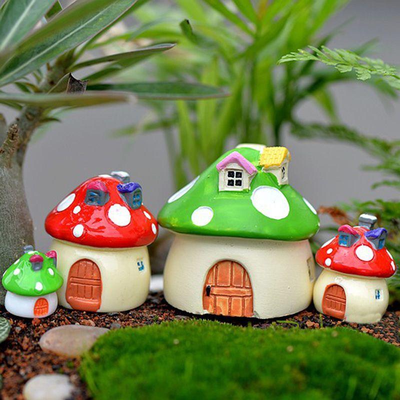 4pcs Mushroom House Cottage Cartoon Zakka Resin Craft Fairy Garden  Miniatures Bonsai Tools Terrarium Figurines Micro