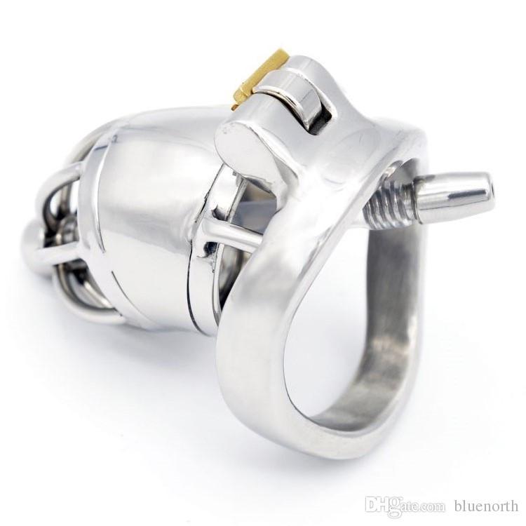 Nuovo blocco Maschio Chastity dispositivo adulti 45MM gallo giocattolo del sesso gabbia in acciaio inox 304 Chastity Belt erotici pene cintura di castità