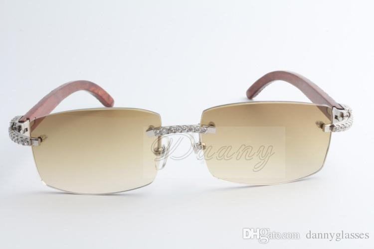 Nova edição limitada Grande diamante óculos de sol de alta qualidade Moda de madeira natural homens e mulheres óculos de sol 3524012 2 Tamanho: 56-18-135mm