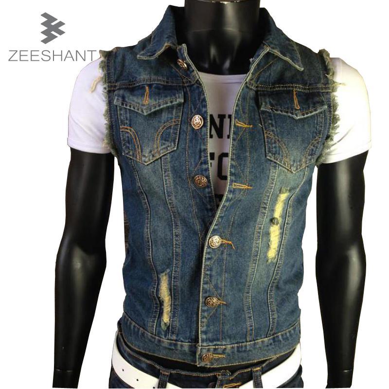 2017 Xxxxxxl Ripped Jean Jacket Mens Denim Vest Jeans Waistcoat ...