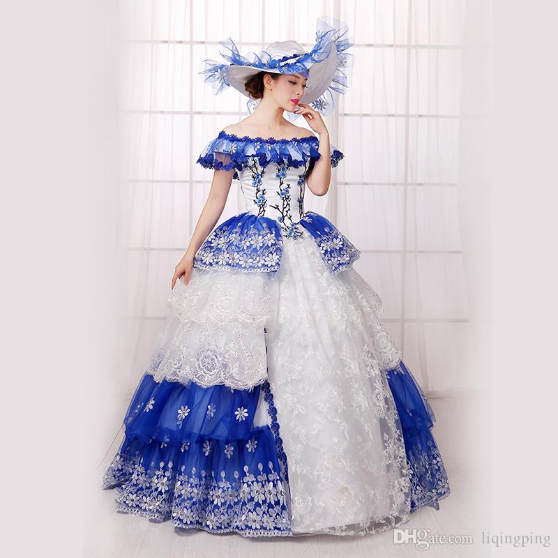 Hot Sale 2016 Fashion Blue Printed Floral 18th century Marie Antoinette Party Dresses For Women