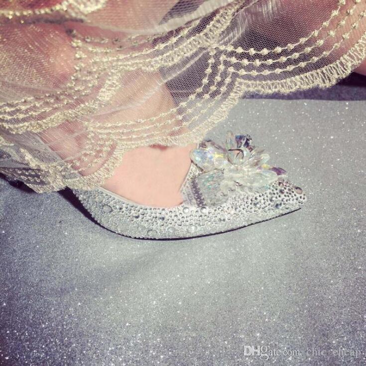 Cinderella-Kristallschuh-hochhackige Frauen-erstaunliche Gläser Bling-Silber-Rhinestone-Brauthochzeits-Schuhe unterschiedliche Größen-Abschlussball-Partei