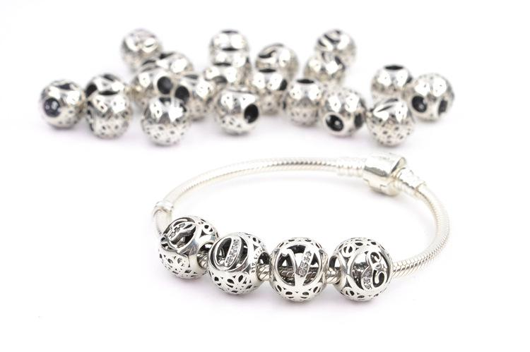 Autentico 925 Sterling Silver 26 lettere perline di cristallo grande foro branelli allentati branelli di fascini i monili che fanno braccialetti artigianali forniture