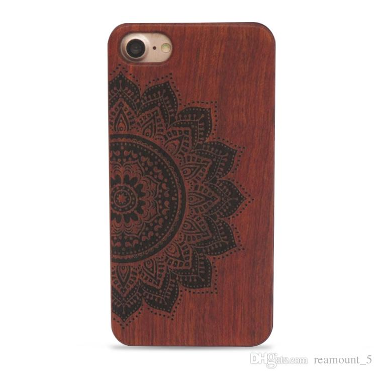 Luxus Neuheit Retro Bambusholz Schädel Carving-Kasten für iPhone 8 hölzerne Fall-Abdeckung für iPhone 7 Customized Phone Case