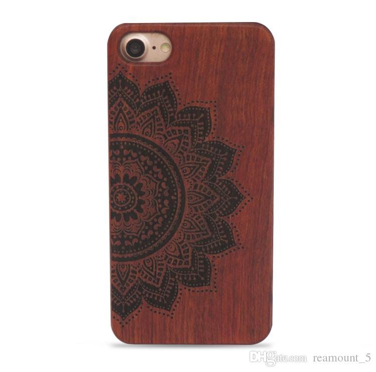 Pour iPhone 6 6S 6Plus 7 7Plus 8 8Plus Etui en bois véritable gravé au laser Personnaliser le cas