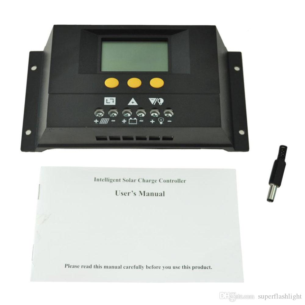 30A Battery PWM Solar Panel Charge Controller Regulator 12-24V Visual LCD Graphic Symbol Auto Temperature Compensation LED_80D