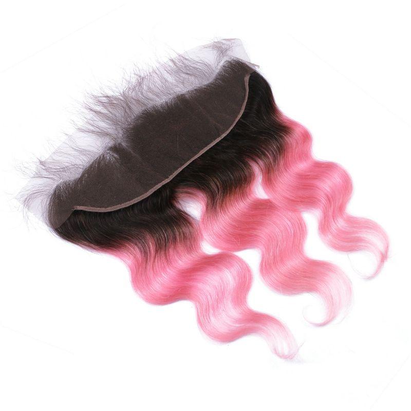 Indian 1B Pink Virgin Hair Ombre Body Wave 3 paquetes con encaje frontal Cierre 1B / Pink Ombre 13 * 4 encaje frontal con paquetes