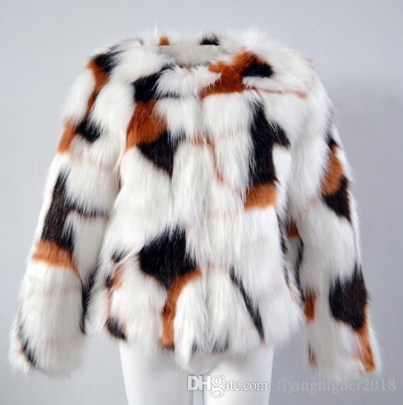 Winter neue Frauen kurze Imitation Pelz Jacken Mode dünne Faux-Pelz-Mantel plus Größe 3XL Langarm wärmen Oberbekleidung