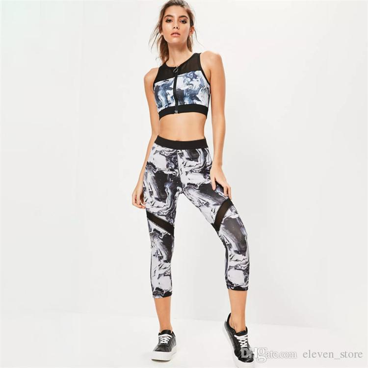 Retro Tracksuit Women Zipped Bra Print Legging 2 pcs 2017 Summer Running Set Sportswear jogging Sport Suit Hot Sale HGE