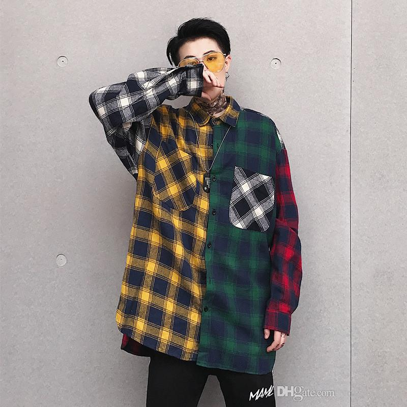 611e016e1ac Color Block Patchwork Streetwear Loose Plaid Long Sleeve Men Hip Hop Casual  Pocket Button Up Shirts Wholesale Streetwear Loose Shirt Plaid Shirt Online  with ...