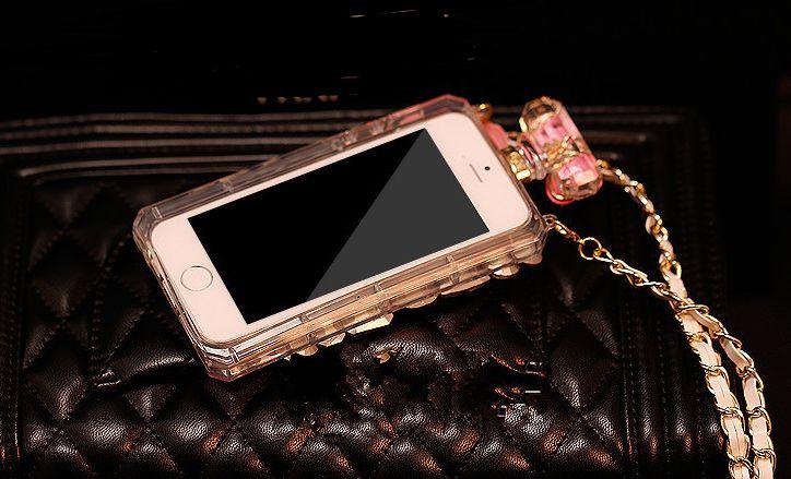 роскошный флакон духов побрякушки алмаз чехол ТПУ чехол для iPhone 7 6 6s плюс 5S Samsung Galaxy S5 s6 s7 s8 края большой цветок розы талрепом цепи