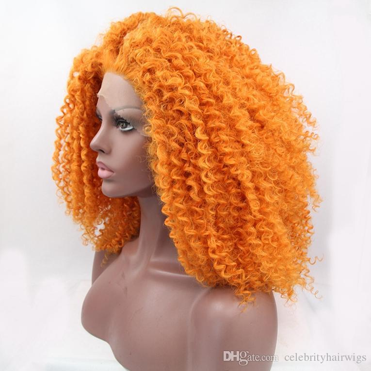 Parrucca anteriore in pizzo glueless capelli sintetici ricci crespi afro color arancio con pettini in ferro da 24 pollici con immagine reale